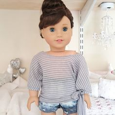 american girl doll grey slouchy top by SewCuteForever on Etsy