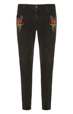 Primark - Black Embroidered Skinny Jean