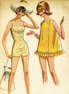 Vintage 60s McCalls 6372 Misses Camisole Swimsuit by RomasMaison