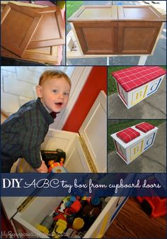 love this toy box made from $1 cabinet doors from the Habitat  ReStore
