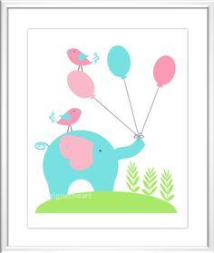 Baby Nursery Wall Art - Digital Art - Pink - Teal - Green - Giraffe - Elephant - Owl - Baby Nursery Decor -  Kids Room - Nursery Art.