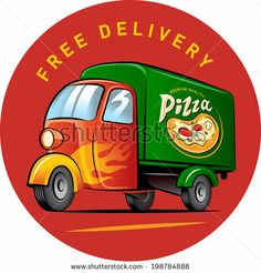 Pizza delivery. Vector illustration isolated on a white background - stock vector