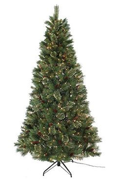 ABUSA Christmas Trees 7 12 Ft Mixed Needle Pine Cone PVC Tree with 600 Lights >>> You can find out more details at the link of the image.