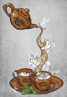 Coffee Art - Coffee As the Art and As the Medium of Art I Love Coffee, Coffee Break, Vino Y Chocolate, Books And Tea, Coin Café, Tea Illustration, Illustrations, Teapots And Cups, Tea Art