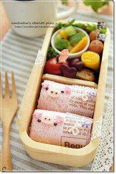 Pig roll sandwich bento