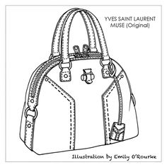 YVES SAINT LAURENT - MUSE BAG - Designer Handbag Illustration / Sketch / Drawing / CAD / Borsa Disegno / Product illustrator / Product Design / Illustrazioni Borse / styliste sac à main