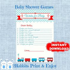 Train Wishes for Baby Cards - Transportation Baby Shower -Baby Shower Well Wishes for a Baby- Train Baby Shower Wishes - Instant Download  #trainbabyshower #printablebabyshowergames #transportationbabyshower #babywishes