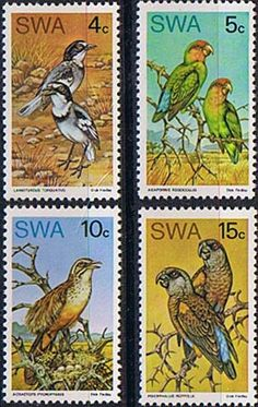 South West Africa 1974 Rare Birds Set Fine Mint SG 260 3 Scott 363 6 Other African and British Commonwealth Stamps HERE!