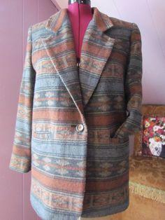 Vintage Blanket Coat Southwest Blazer by glamtownvintage on Etsy, $20.00