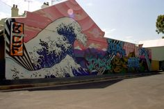 Japanese Graffiti based on the famous artwork drawn by Hokusai titled The Great Wave off Kanagawa Graffiti Artwork, Graffiti Wall, Street Art Graffiti, Heart Graffiti, Wall Murals, Japanese History, Japanese Art, Japanese Graffiti, Collages