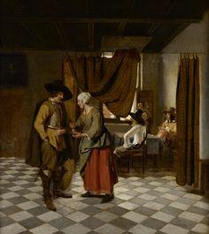 HOOCH, Pieter de Paying the Hostess 1658 Oil on canvas, 71 x 64 cm Private collection Baroque Painting, Baroque Art, Interior Painting, Rembrandt, Pieter De Hooch, Art Ancien, Dutch Golden Age, Dutch Painters, European Paintings