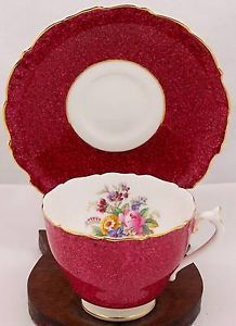Coalport-England-Bone-China-Mottled-Red-Cup-Saucer-Flower-Bouquet-in-Teacup