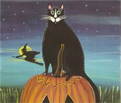 Whimsical HALLOWEEN CAT PRINT - Black Cat Pumpkin and Witch- an Original Signed Folk Art Print by Wendy Presseisen- Boo