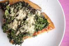 kale pizza with sweet potato crust. don't know about the hippy toppings, but the sweet potato crust & quinoa crust is worth trying. Kale Recipes, Raw Food Recipes, Vegetarian Recipes, Healthy Recipes, Fun Recipes, Sweet Potato Pizza Crust, Crust Pizza, Kale Pizza, Vegan Pizza