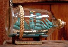 Vintage American Craft Handmade Ship in a Bottle - hobbyists model of the German…