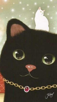 jetoy - black cat with tiny white cat!