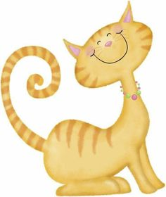 Here Kitty Kitty Cute Animal Clipart, Cat Clipart, Cat Template, Posca Art, Image Chat, Cat Quilt, Yellow Cat, Cat Cards, Applique Patterns