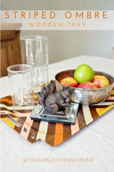 Striped Ombre Wooden Tray Tutorial - Mad in Crafts