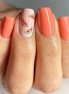 Minimalist Nails, Classy Nails, Simple Nails, Short Nails Art, Pretty Short Nails, Pretty Gel Nails, Short Gel Nails, Cute Summer Nails, Nails Summer Colors