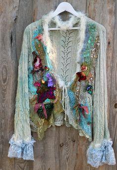 Wintermood extravagant reworked cardi by FleursBoheme Art to wear, refashioned altered clothing