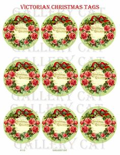 Victorian CHRISTMAS WREATH Tags Digital Collage di GalleryCat