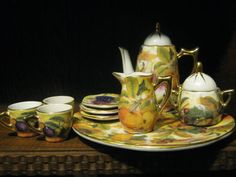 Decorative Miniature Fine China Tea Set Grape Design