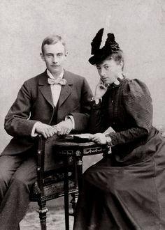 "Dowager Grand Duchess Anastasia of Mecklenburg Schwerin,neé Grand Duchess Anastasia Mikhailovna Romanova of Russia and son,Grand Duke Friedrich Franz IV of Mecklenburg Schwerin in 1899. ""AL"""