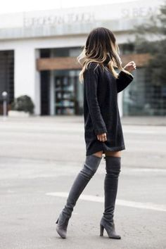Sweater Dress Outfit Picture sweater dress outfits cool ways to wear the sweater dress Sweater Dress Outfit. Here is Sweater Dress Outfit Picture for you. Sweater Dress Outfit 34 sweater dress outfit ideas that are still trendy Swe. Mode Outfits, Fashion Outfits, Womens Fashion, Fashion Trends, Dress Outfits, Fashion Models, Sweater Dresses, Fashion Shoes, Party Outfits