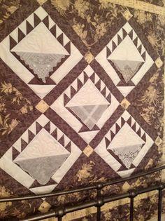 Basket quilt using antique handkerchiefs