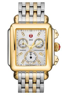 MICHELE 'Deco' Diamond Dial Two-Tone Watch Case, 33mm x 35mm Gold/ Silver