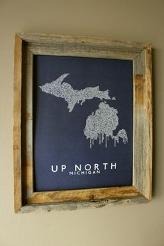 Up North (Michigan) Word Map (Dark Blue)