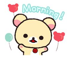 LINE Official Stickers - Always with Rilakkuma Stickers Example with GIF Animation Bear Cartoon, Cute Cartoon, Cute Good Morning Gif, Polymer Clay Kawaii, Clay Animals, Rilakkuma, Line Sticker, Gifs, Stickers