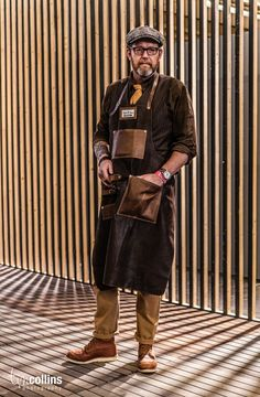 "dukeandsons: ""At Modefabriek Amsterdam 2014 amazing picture by Tim Collins "" Workwear Fashion, Work Fashion, Retro Fashion, Fashion Blogs, Fashion Fashion, Fashion Trends, Barber Apron, Shop Apron, Restaurant Uniforms"