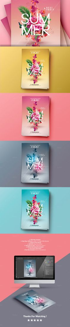 Summer Party | 4 Flyers Templates by Creative Flyers on @creativemarket