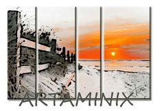 Tramonto sul mare #orange #modern #art #landscape #paesaggio #arredo #casa #commissione #paesaggi