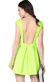 Neon Green Sleeveless Ruffle Backless Dress US$31.10