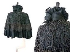 Image result for irish mourning cape Victorian Collar, Victorian Steampunk, Victorian Era, Mourning Dress, Ruffle Fabric, Goth Women, Mourning Jewelry, Witch Outfit, Period Costumes