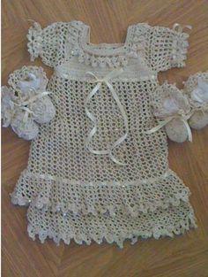 Cream baby dress for church.