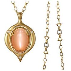 ... Eye Peach Moonstone Diamond Gold Amulet Necklace For Sale at 1stdibs