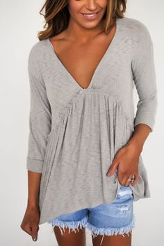 572035b43bb295 Grey Ribbed Button Back Top. Dottie Couture BoutiqueTypes ...
