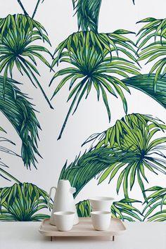 Palmiers tropicaux de motif papier peint papier par WallfloraShop