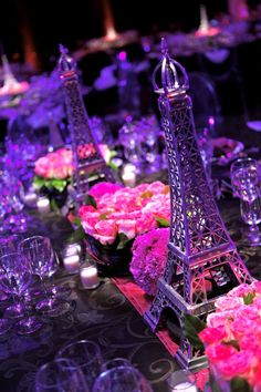 This paris theme is so cute. too bad I don't care about paris. Prom Themes, Quinceanera Themes, Paris Theme Centerpieces, Table Centerpieces, Paris Prom Theme, Paris Themed Weddings, Thema Paris, Purple Wedding, Wedding Day