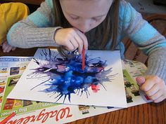 Painting with rubber bands & blowing paint Easy art activity-blow painting. All you need is paint, water, and a straw. Preschool Painting, Preschool Art, Oral Motor Activities, Activities For Kids, Art For Kids, Crafts For Kids, Blow Paint, Ludo, Simple Art