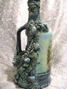 Decoupaged/Decoraited Bottle. Creator unknown.