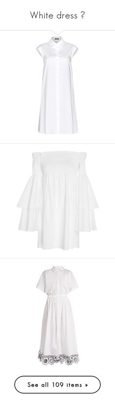 """White dress 💭"" by ngkhhuynstyle ❤ liked on Polyvore featuring dresses, white, optic white, white summer dress, summer shirt dresses, cotton shirt dress, cotton day dress, white day dress, off the shoulder mini dress and mini dress"
