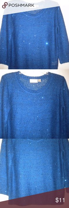 RD Style Research and Design Mediium Blue Sweater Barely Worn. RD Style Research and Design Women Size Medium Sweater. 3/4 Sleeves.  Blue with sequins.  Made of52% Acrylic and 48% Polyester. Chest approximately 40 inches and length approximately 23 1/2 inches. RD Style Sweaters
