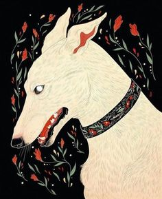 "Loving @dappermouth, digital work, ""Winter is a lean white hound, who walks by night and makes no sound."""