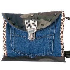 Sac/portefeuille en jean recyclé , bandoulière cuir