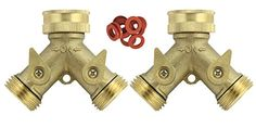 A1005T Heavy Duty Brass Y 2 Way Garden Hose Connector  2 PACK  2 Brass 2Way Splitter 10 Hose Washers All Brass -- Be sure to check out this awesome product. Note: It's an affiliate link to Amazon