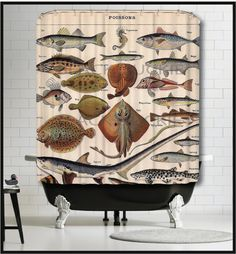 ♥The Black Duckie words will not be on your shower curtain♥ We made an art print from this French Fish Collage for our other shop back in 2010